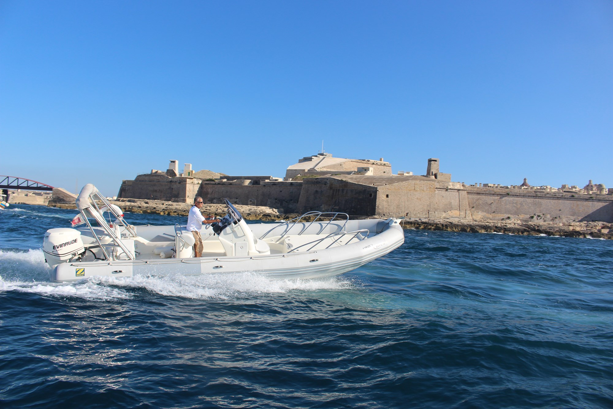 Rent / charter Rib / Dinghy for Boat Parties, Conference & Incentive / Meetings / Corporate, Full Day Tour, Half Day Tour, Harbour Cruise, Private Charter & Team Building Activities in Malta & Gozo - Zodiac Pro Open 8.5