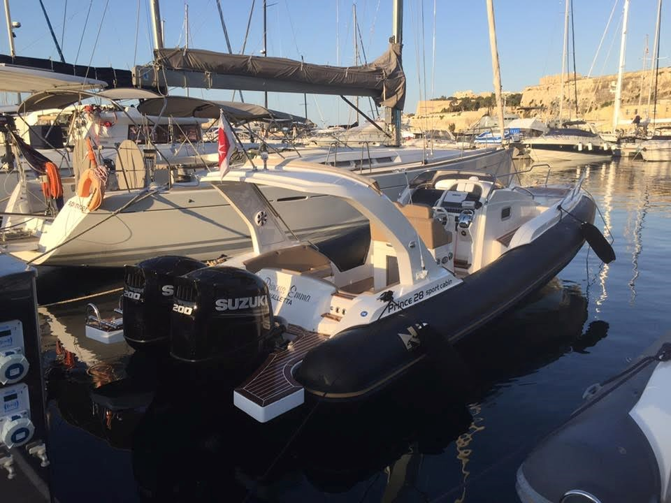 Rent / charter Rib / Dinghy for Conference & Incentive / Meetings / Corporate, Full Day Tour, Half Day Tour, Harbour Cruise, Private Charter & Team Building Activities in Malta & Gozo - NuovaJolly Prince 28 sportcabin